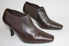 M & S insolia womens brown leather heeled boots uk 4 eu 37