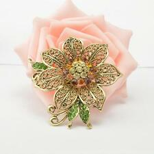 Fashion Vintage Costume Jewelry Crystal Gold Women Lady Flower Pin Brooch