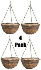 "(4) ea Panacea Products 88633 14"" Round Natural Rattan Hanging Basket Planters"