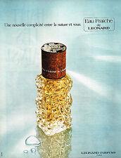 PUBLICITE  1974   LEONARD   EAU FRAICHE  parfums