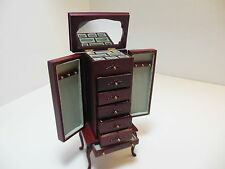 Dollhouse Miniatures Furniture 1/12: 3020mh Mahogany Jewelry Armoire