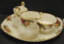 ROYAL ALBERT BONE CHINA ENGLAND OLD COUNTRY ROSES CREAMER, SUGAR BOWL & PLATE