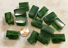 "16"" Strand  FROSTED RESIN BEADS-RECTANGLE CUBE 23mmx15mmX15mm EMERALD CRACKLE"