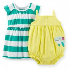 *NEW Carter's Baby Girl's 2 Pack Striped Dress And Whale Romper Size 12 Months