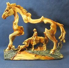 Horse and Rider Western Wood look resin sculpture Cowboy w/ calf