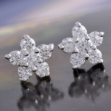 Womens Kids Small Flower Crystal Stud Earrings White Gold Plated Silver Jewelry