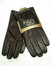 $70 Men's Isotoner 100% Lux-Cashmere Lined Genuine Leather Gloves, Brown, XL
