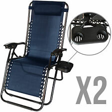 2 Zero Gravity Lounge Beach Chairs+Utility Tray Folding Outdoor Recliner Navy