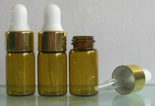 6x 1/10oz AMBER GLASS ROUND BOTTLES W/ DROPPERS 3ml FOR ESSENTIAL OILS #M1627 QL