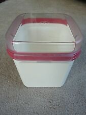 Tupperware Rose Modular Mates White Canister 1621 Square Acrylic Flip Top Lid