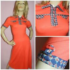 60s 70s Rosso Navy finitura a contrasto attiva/disattiva dettaglio JERSEY Tea Dress 6 XXS 1970s Kitsch
