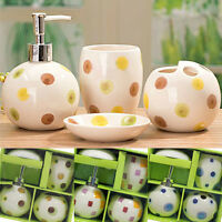Ceramic Bathroom Accessory Set of 4 Soap, Lotion, Toothbrush Holder, Cup NEW