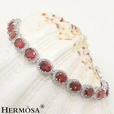 65% Off TOP FASHION RED GARNET 925 Sterling Silver Bracelet 7""