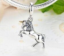 Exquisite 925 Free Spirit unicorno ciondolo con corno Placcato Oro