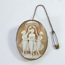 Beautiful Antique Victorian Large Gilt Carved Shell Cameo Brooch 3 Three Graces