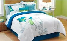 FULL - Jaclyn Smith - Abstract Floral on White SHAM, BEDSKIRT & COMFORTER SET