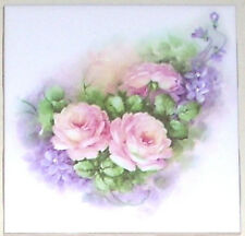 "Pink Rose Ceramic Tile Accent with Lavender Flower 4.25""   Kiln Fired Decor"