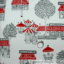 BonEful Fabric FQ Cotton Quilt White Black Red B&W VTG City Town Shop Cafe Tree
