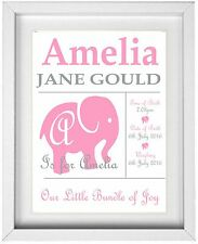 BABY GIRL NAME  | Personalised Picture  | Elephant | GIFT | FREE POST | (NP033)