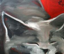 Dipinto ad olio fine ART Felino Gatto ritratto animale pet Grigio Carino Gattino Blu Rosso