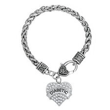 Silver Plated Heart Crystal Diabetic Awareness Medical Alert Bracelet Jewelry