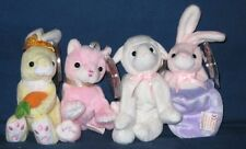 TY 2004 BASKET BEANIE SET - PETEY, NIBBLES, LULLABY & CARNATION - MINT TAGS
