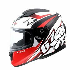 LS2 Helmets -FF320-Stream-SuperStar White Red-Dual Visor Without Air Pump Helmet