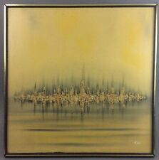 Large Mid Century Modern Abstract Modernist Painting Signed KIM, Eames Era