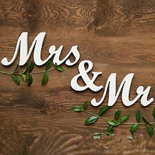 White Mr & Mrs Wood SCRIPT LETTERS Wedding Sweetheart Table Photo Prop JM337 S#