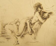 Antique Erotic Original Nude Etching Print Pencil  Signed