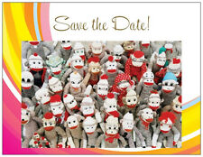 20 Save the Date MONKIES  Made of SOCKS FAMILY REUNION  Post CARDS Postcards