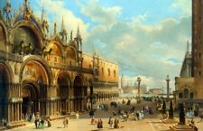 Oil painting Carlo Grubacs - Cathedral Mark's City Square & grand buildings
