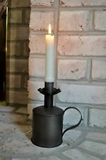 Primitive Antique Rustic Vintage Black Metal JOHNSTOWN Candle Holder