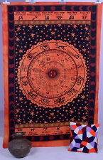 Astrology Zodiac Indian Tapestry Twin Size Wall Hanging Bedspread Bedsheet Decor