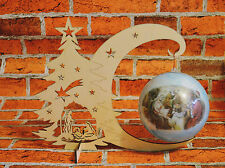 Plain Wooden Christmas Tree Moon Bauble Stand Tags Craft Decoupage Hanging Xmas