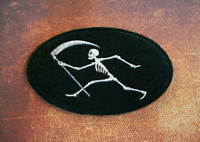 Embroidered Grim Reaper Patch on Black Felt - Sew/Iron On WWI French Emblem