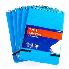 5x Small Notebook POCKET SIZE Lined/Ruled Note Pad Memo Jotter Office Stationery
