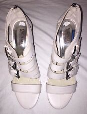 BRAND NEW Michael Kors 'Sonoma' High Heel White Leather Sandals. Size 8