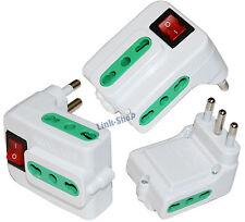 Presa Angolo Adattatore Tasto Elettrica 3 Prese Spina Tripla 10-16A Interruttore