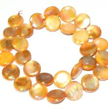 MP714f Mother of Pearl Apricot AB 14mm Flat Puffy Round Gemstone Shell Beads 15""