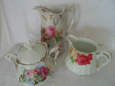 BEAUTIFUL THREE PIECE PORCELAIN SERVING SET  FLORAL PATTERN, CREAM SUGAR COFFEE