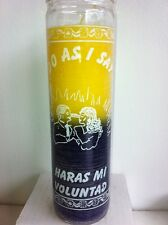DO AS I SAY 7 DAY 2 CLR YELLOW & PURPLE UNSCENTED CANDLE IN GLASS HARAS MI VOLUN