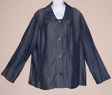New-Indigo Dye Blue Denim Look Shirt Jacket-Button Front-Long Sleeves-18-Curve
