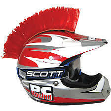 PC RACING HELMET MOHAWK RED STICK ON MOTORCYCLE DIRT BIKE OFF ROAD