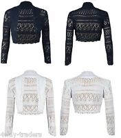 New Ladies Long Sleeve Crochet Bolero Shrug Womens Cropped Knitted Cardigan Tops