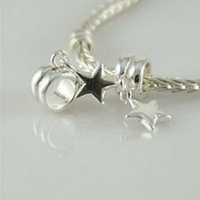 STAR- Christmas - Solid 925 sterling silver European dangle charm bead / Pendant