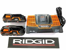 RIDGID 18v 18 VOLT X4 DUAL CHEMISTRY BATTERY CHARGER + 2 LITHIUM BATTERIES 93/85