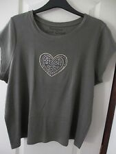 Khaki top with sequin heart design in front plus size  22/24 approx