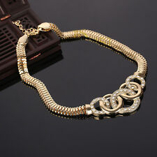 Women 18K Gold Plated austrian crystal fashion necklace chunky choker statement