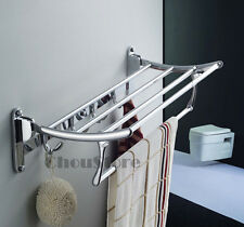 Wall Mounted Chrome Bathroom Foldable Towel Rack Shelf Rails Double Bar C45